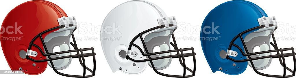 American Red White and Blue Football Helmets royalty-free stock vector art