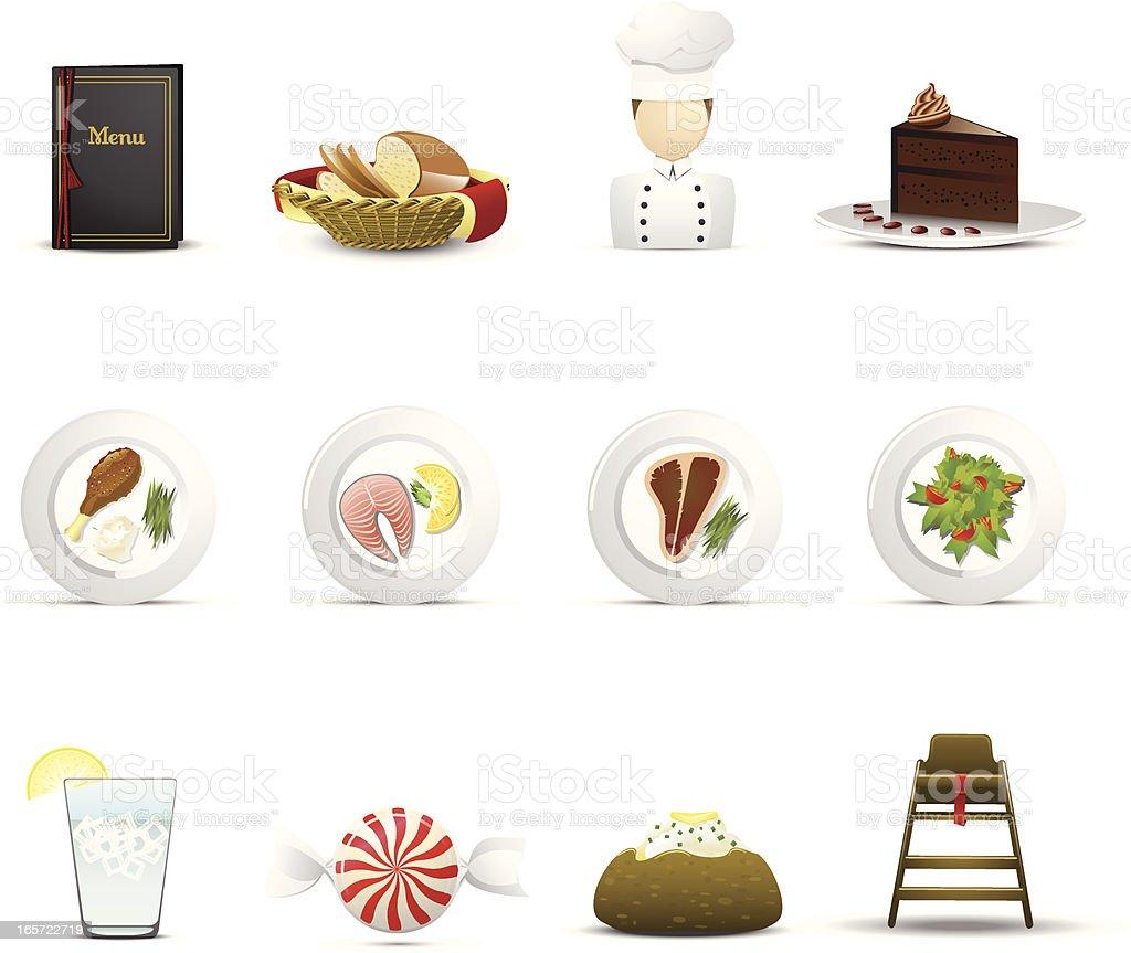 American Restaurant Icons vector art illustration