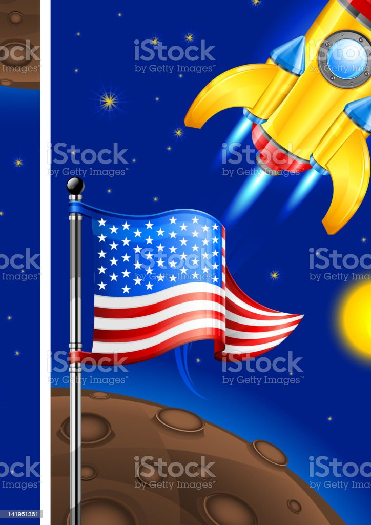 American retro rocket royalty-free stock vector art