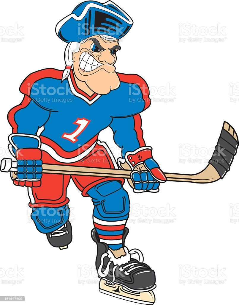 American Revolution Soldier Plays Hockey royalty-free stock vector art