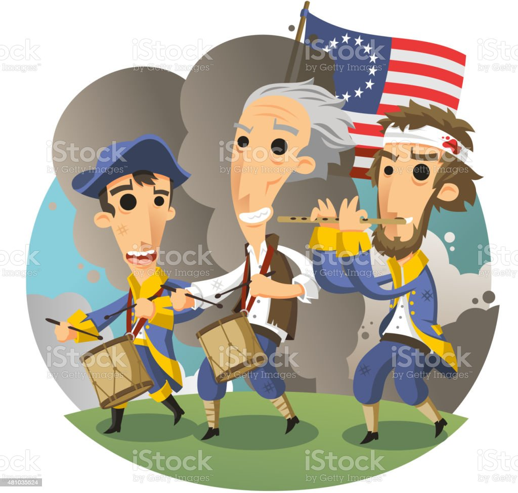 American Revolutionary War of Independence vector art illustration