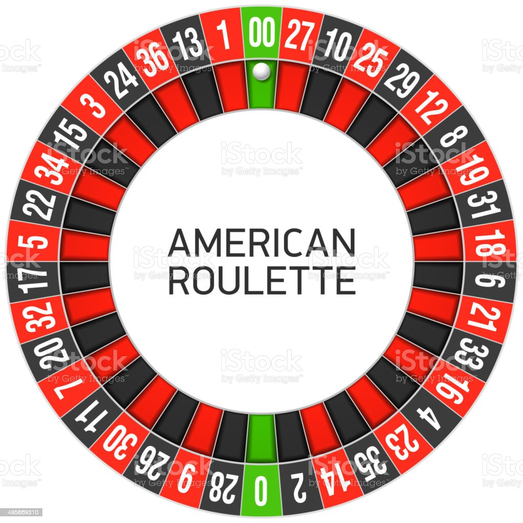 American roulette wheel vector art illustration