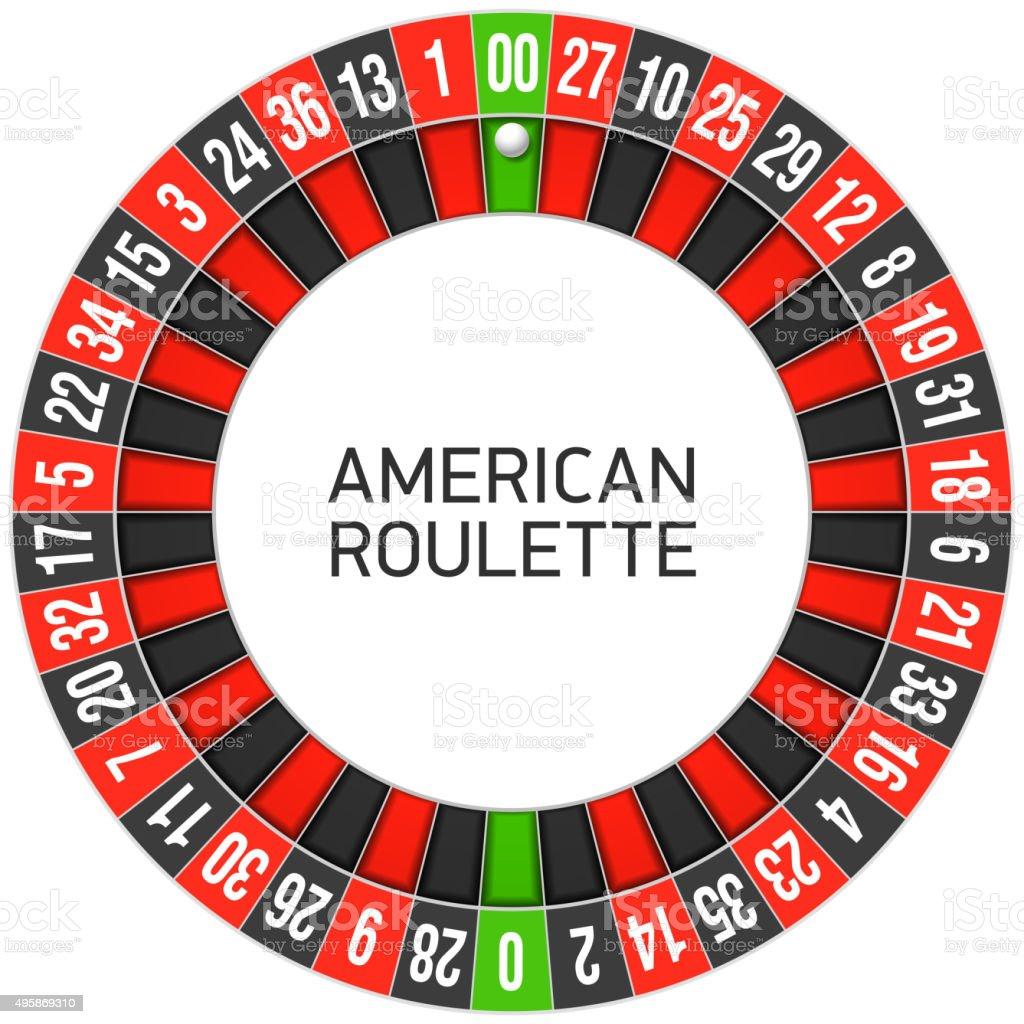 American roulette wheel vector art illustration