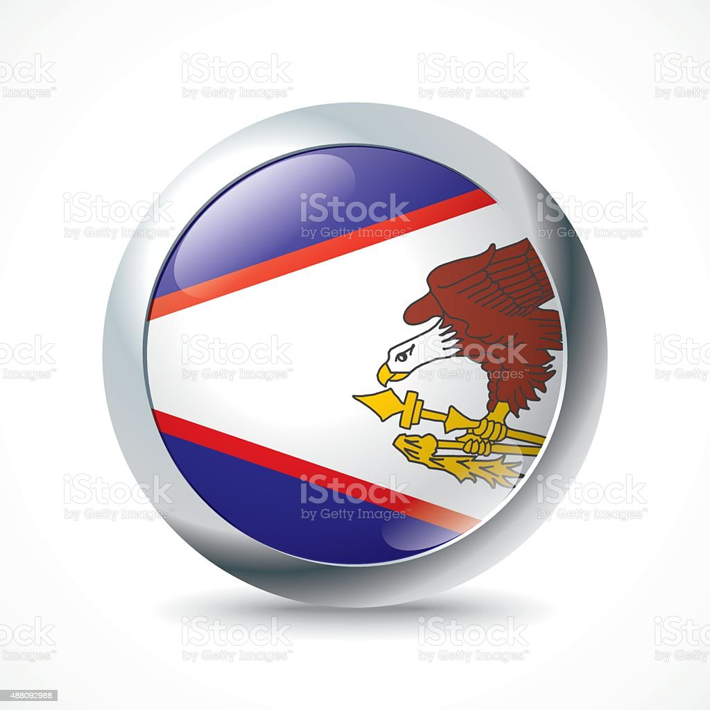 American Samoa flag button vector art illustration