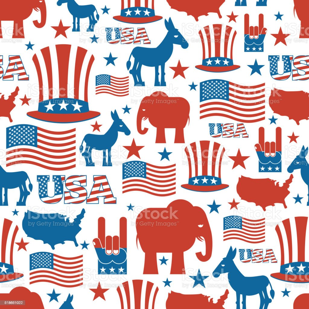 American seamless pattern. USA Election Symbols National pattern vector art illustration