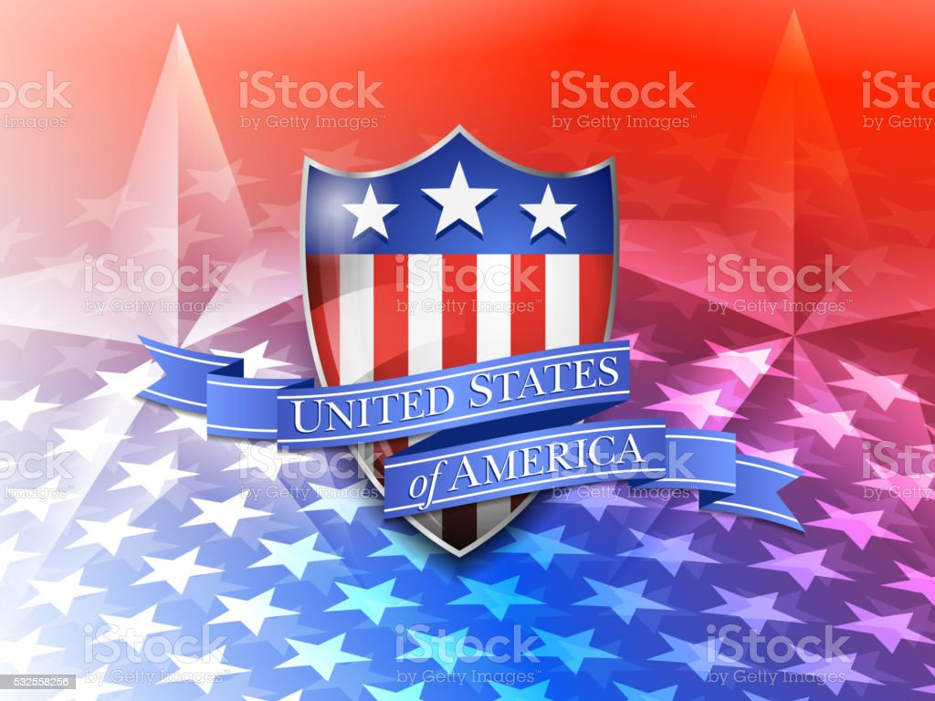 American Shield on a Stars Background vector art illustration