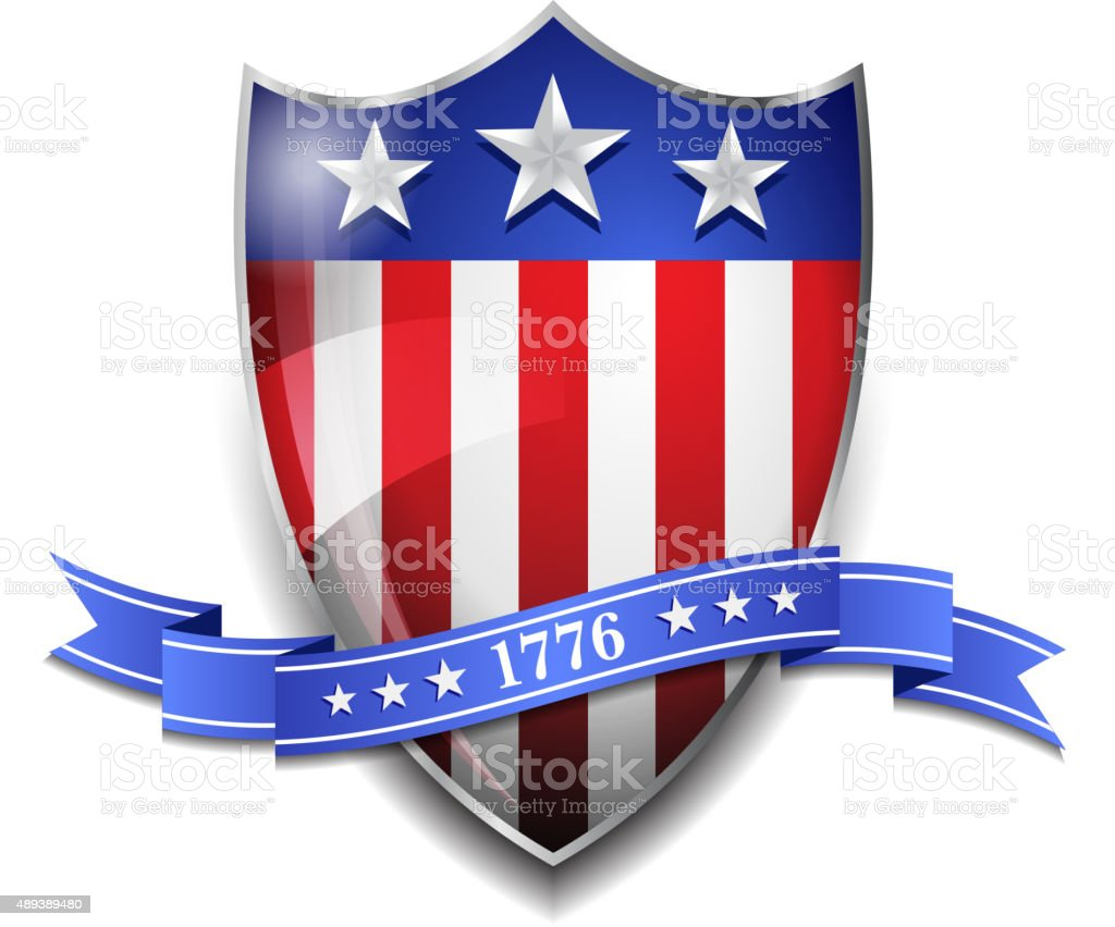 American Shield with 1776 Scroll vector art illustration