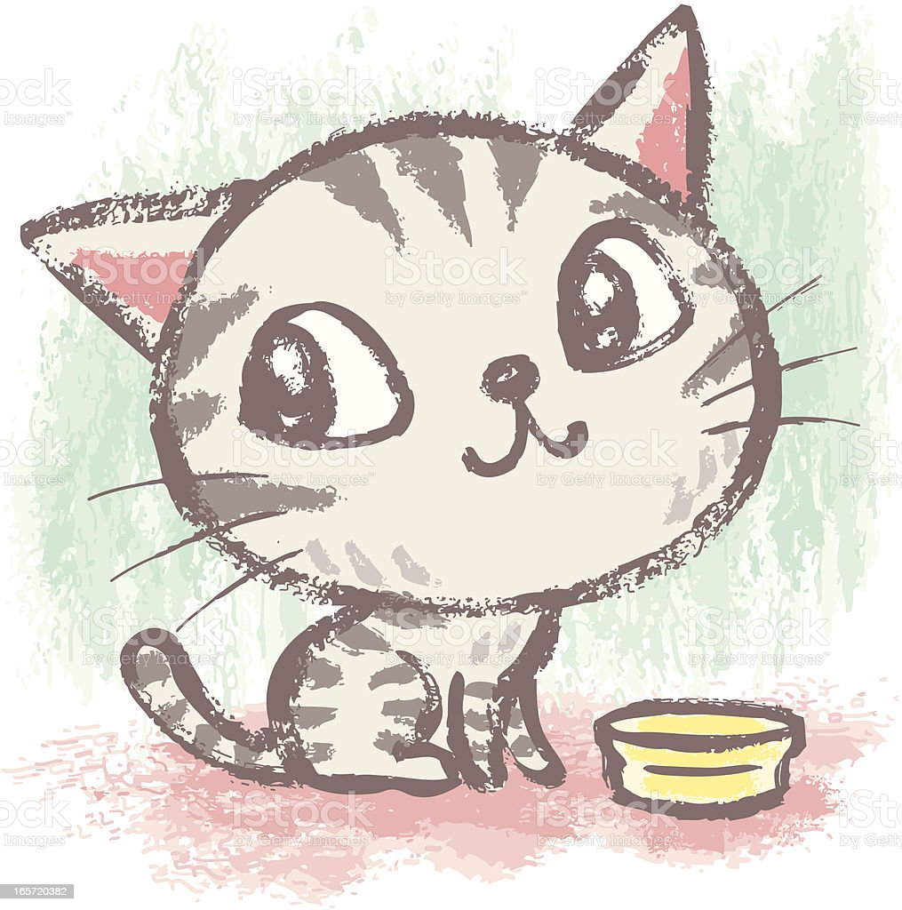 American Shorthair and meal vector art illustration