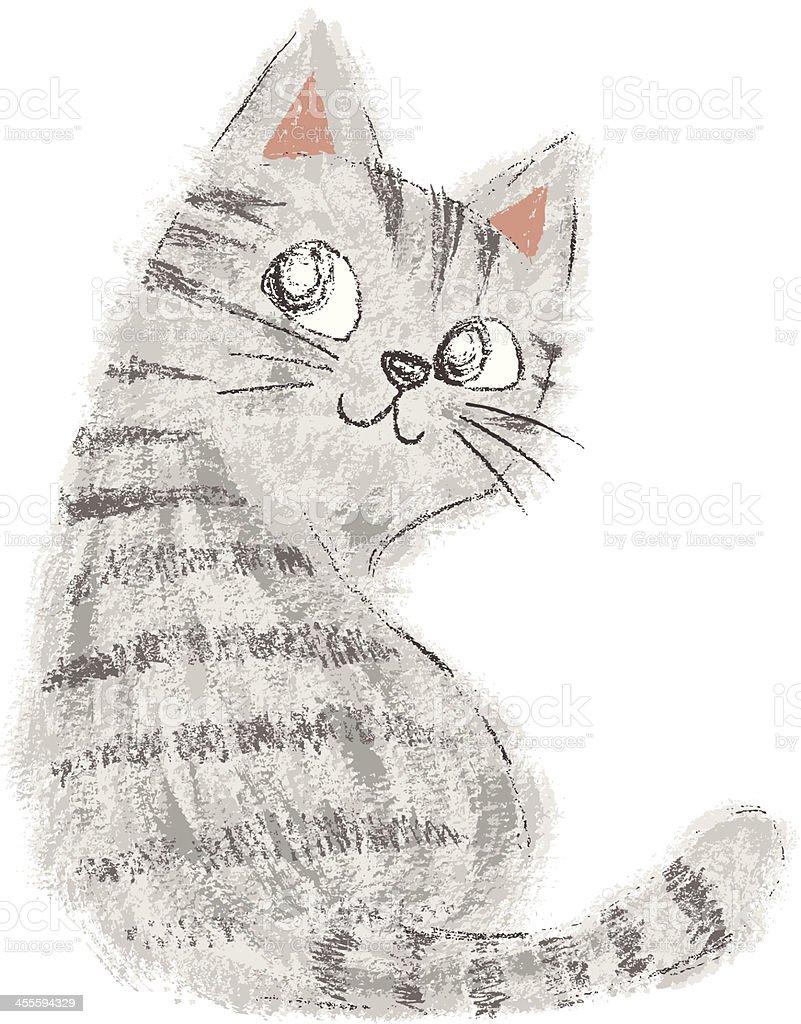 American Shorthair look back vector art illustration