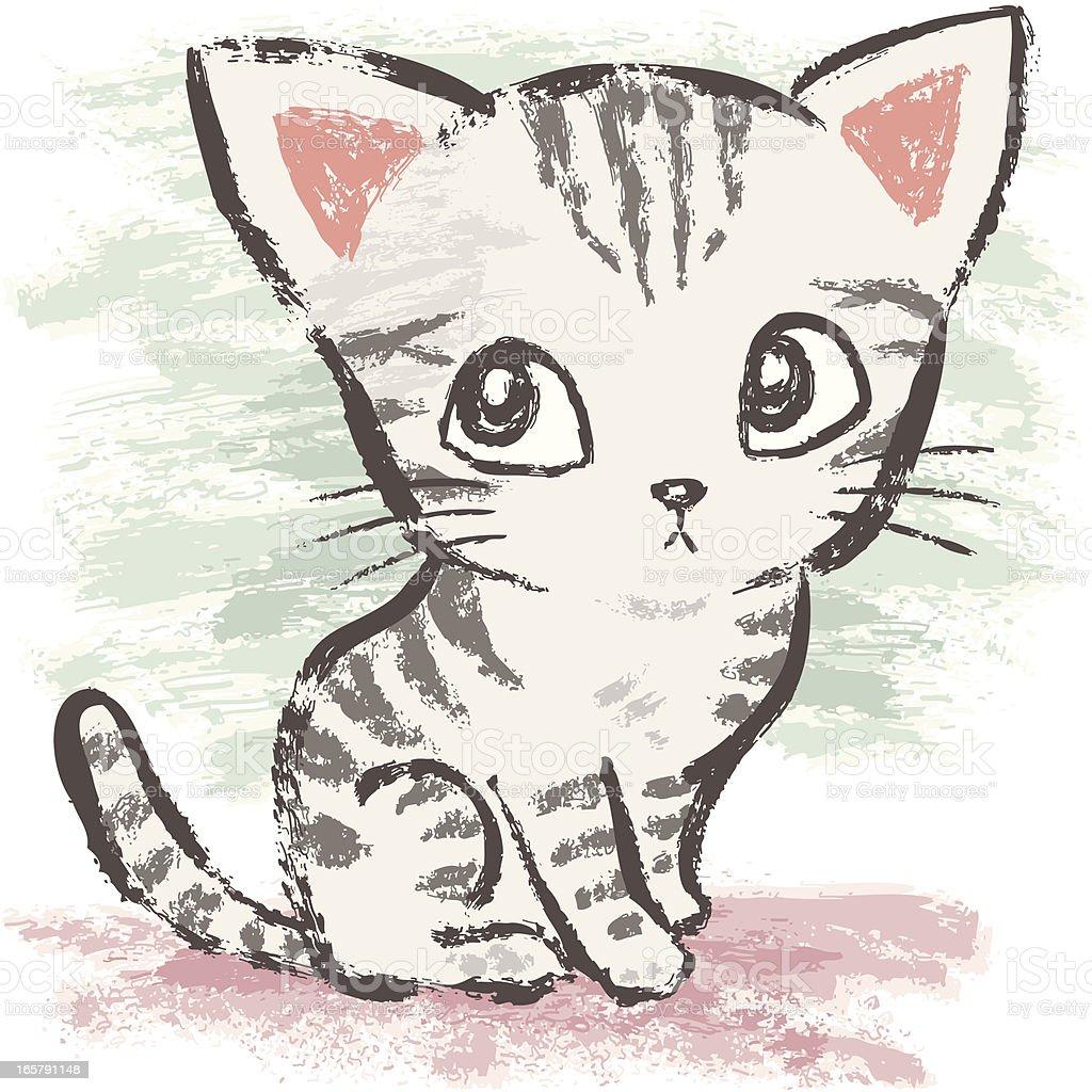 American Shorthair sitting vector art illustration