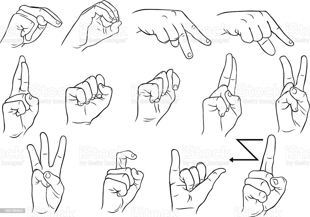 American single hand sign language N-Z vector art illustration