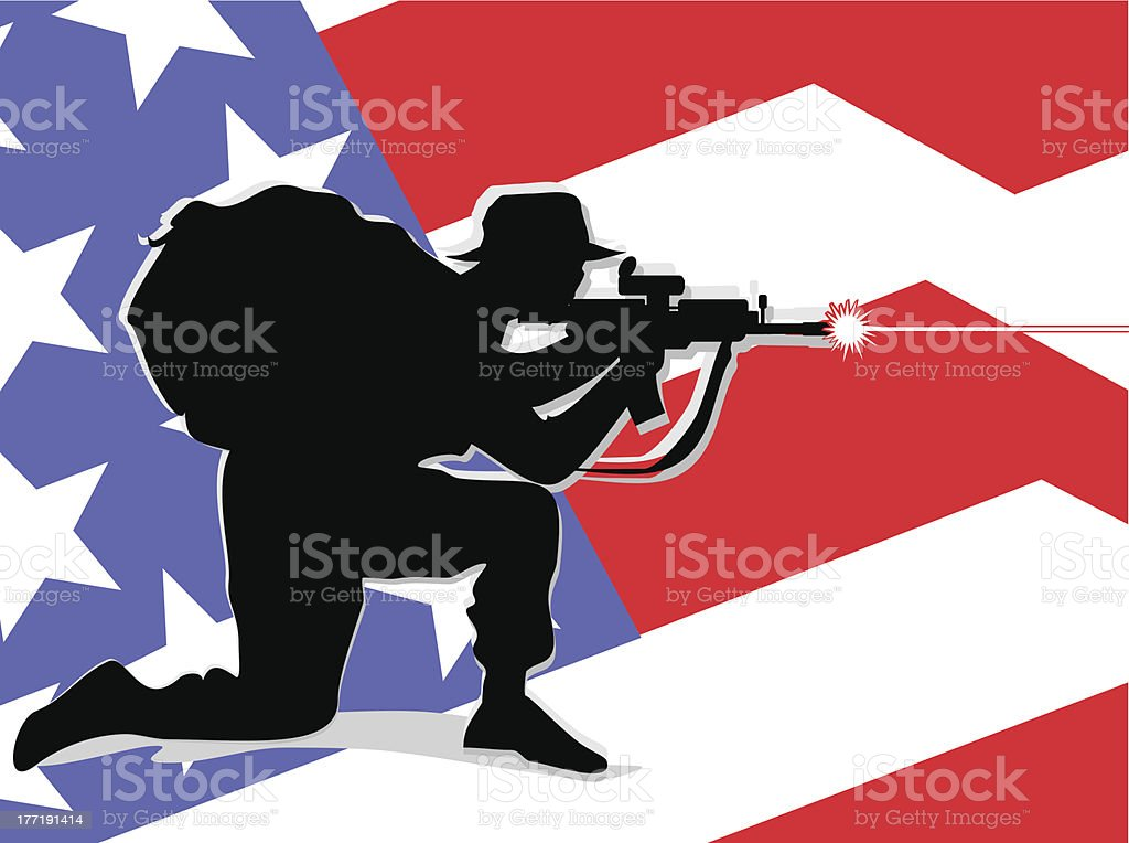 American soldier defending his country royalty-free stock vector art