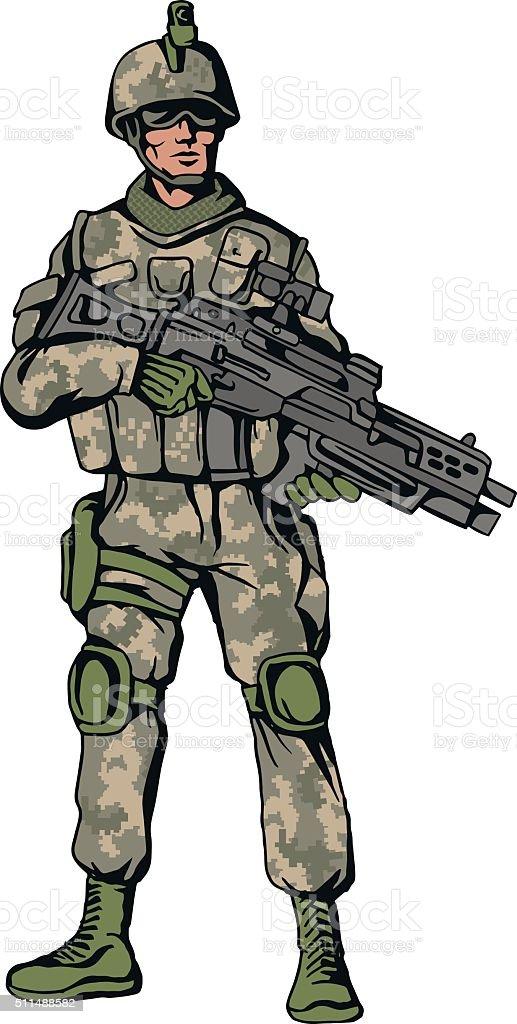 American soldier vector art illustration