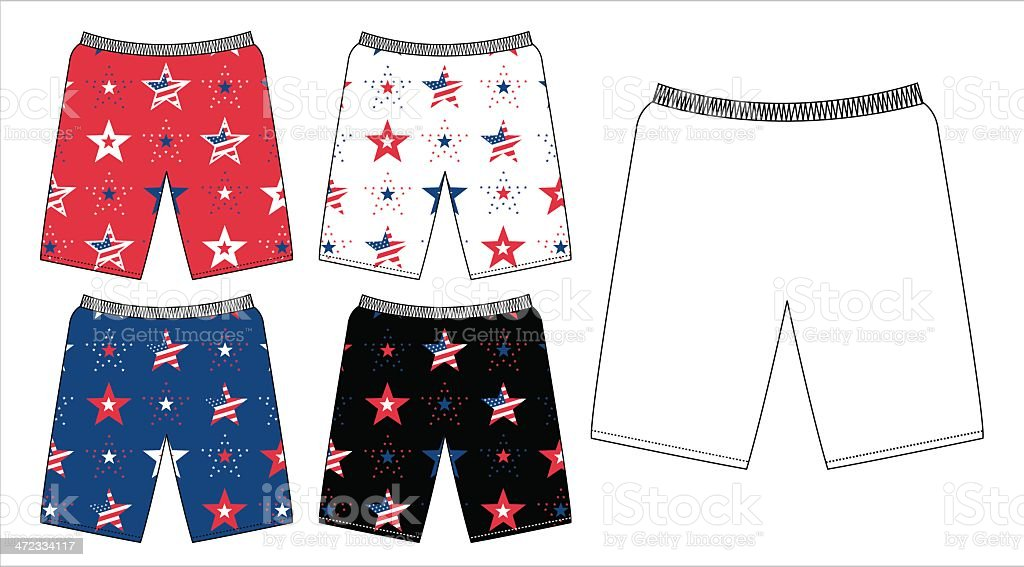 American Stars and Stripes Mens or Boys Shorts royalty-free stock vector art