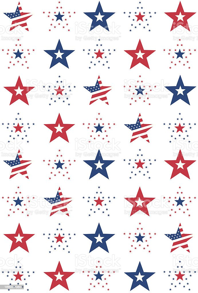 American Stars and Stripes Pattern in Repeat vector art illustration