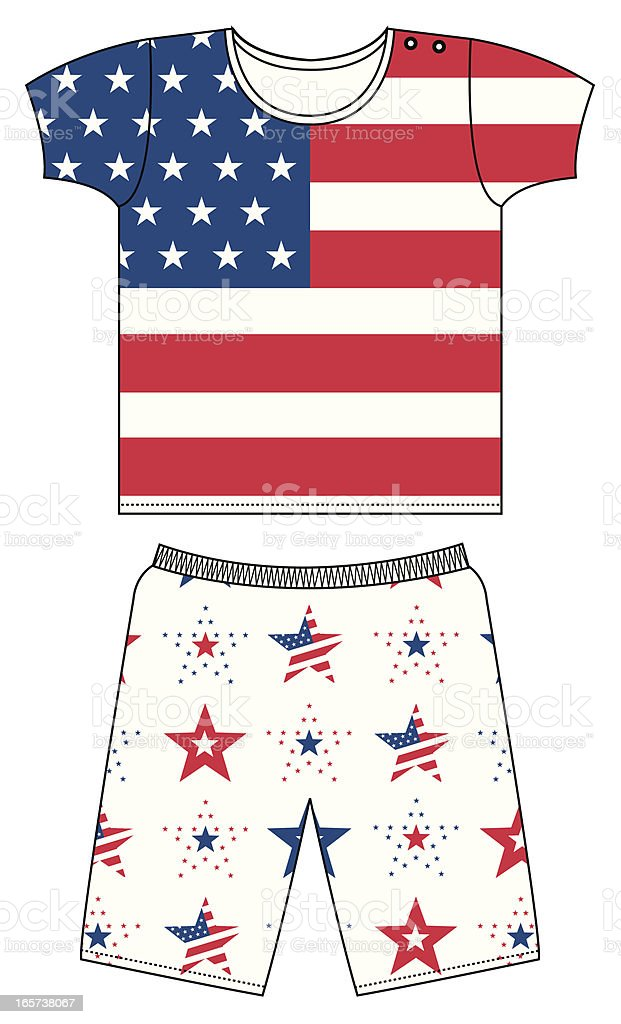 American Stars and Stripes T-shirt & Shorts vector art illustration