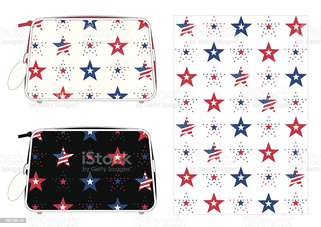 American Stars and Stripes Washbag with a Repeat Pattern vector art illustration