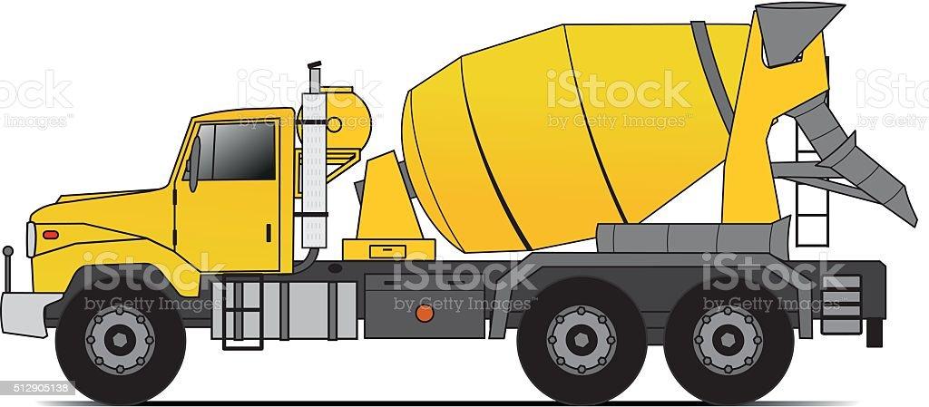 American style cement truck vector art illustration