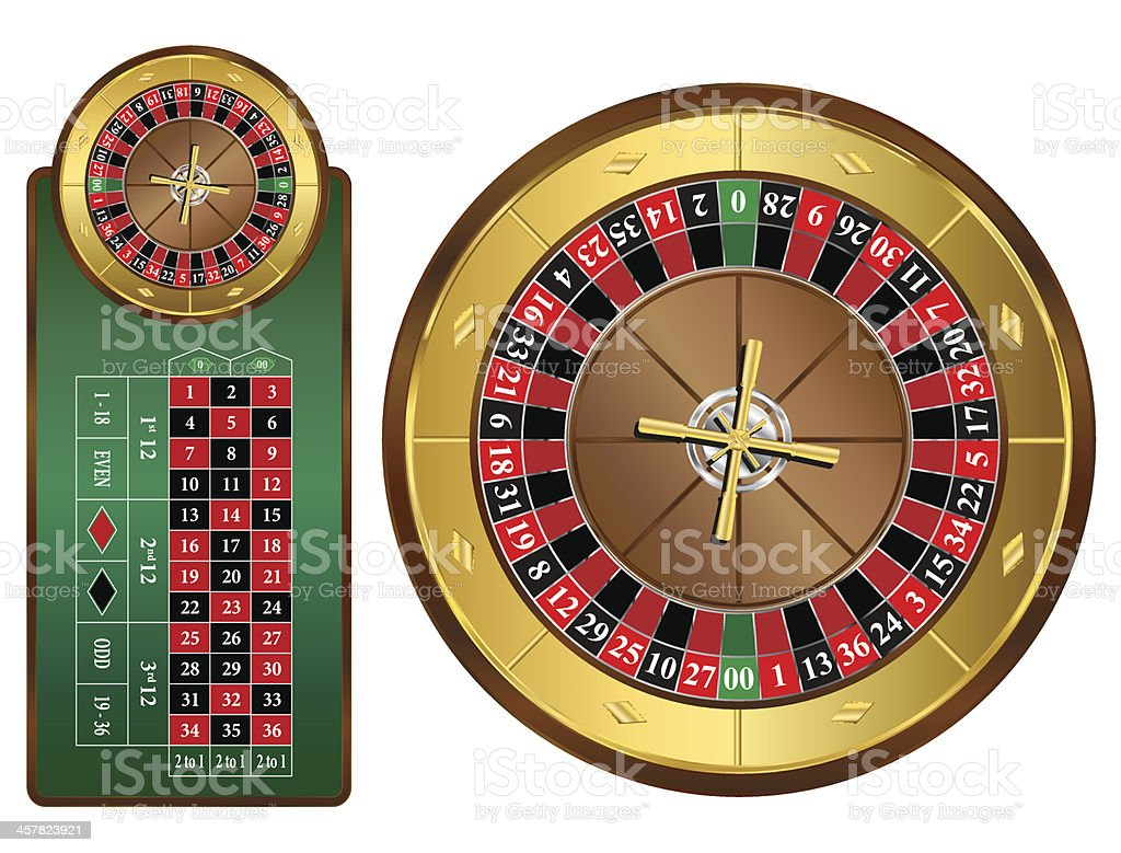 American style roulette table and wheel vector art illustration