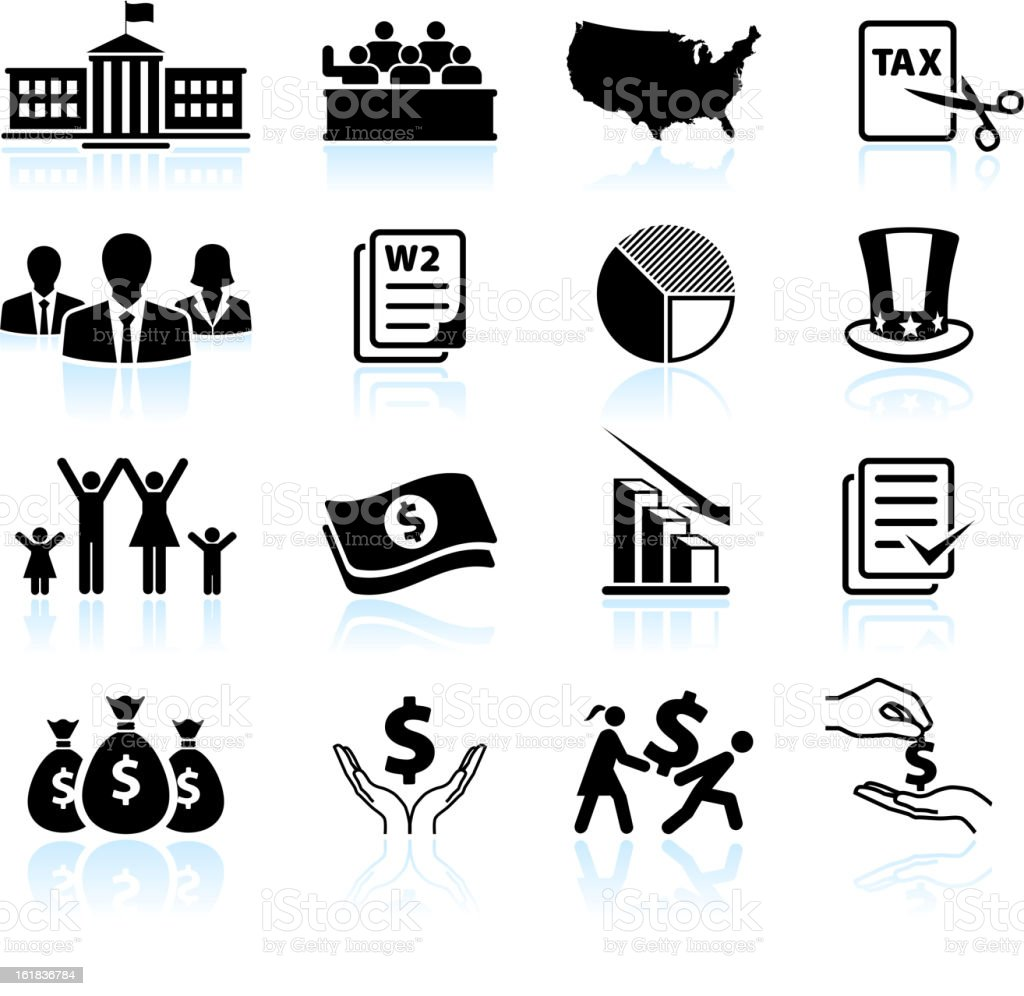 American Tax Cut Deal black & white vector icon set vector art illustration