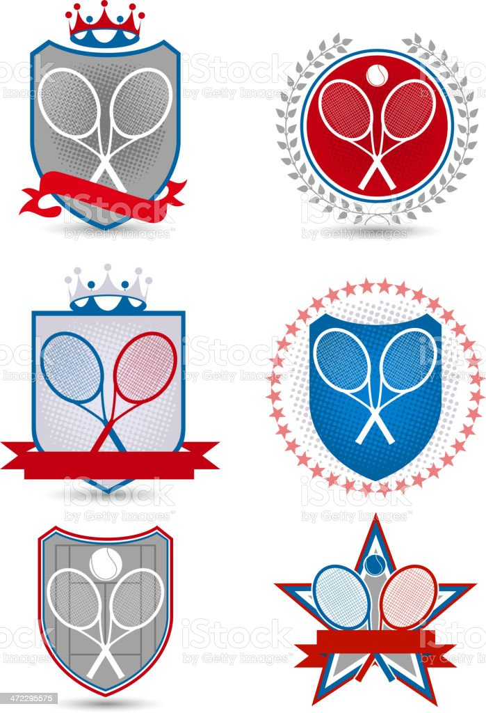 American Tennis Emblem with banners crowns stars balls racket 2 vector art illustration