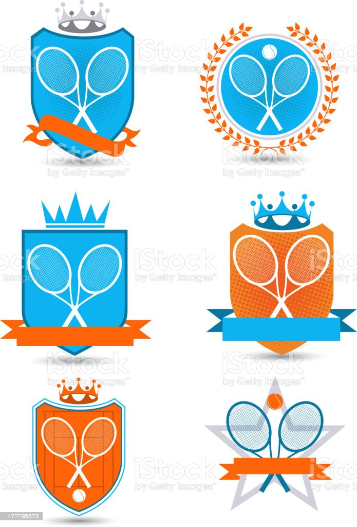 American Tennis Emblem with banners crowns stars balls racket vector art illustration