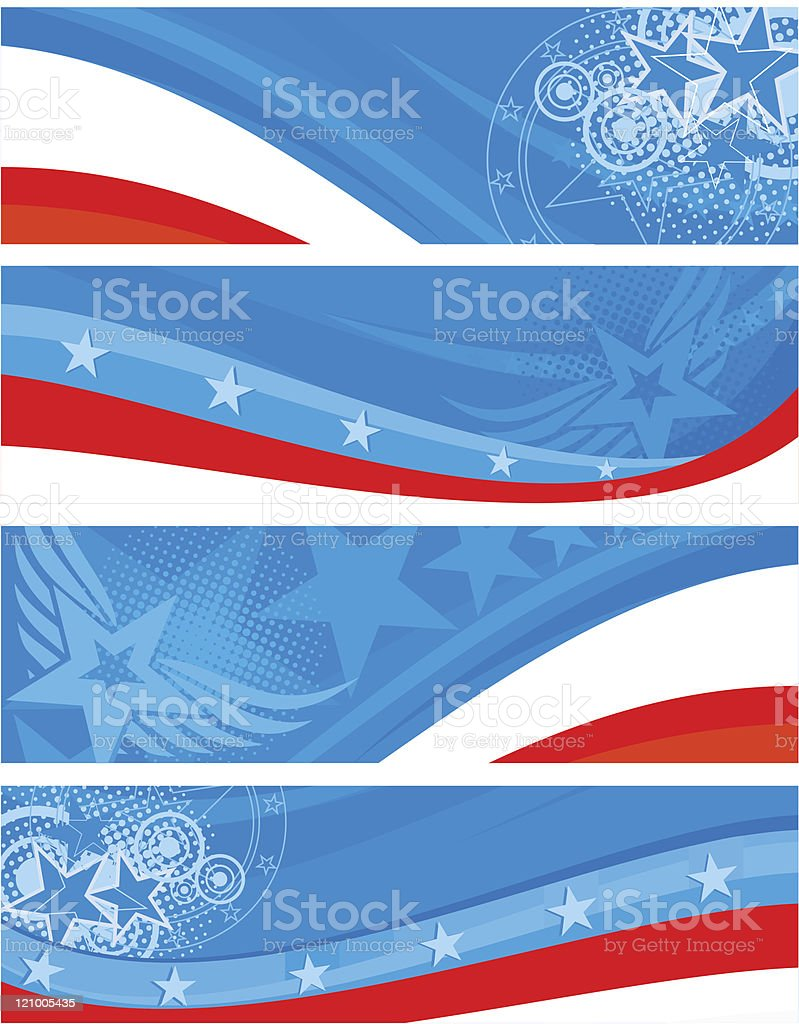 American theme horizontal banners set royalty-free stock vector art
