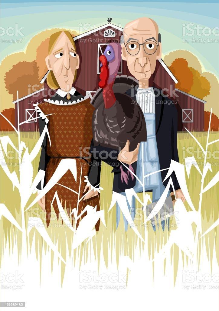 American turkey farmer vector art illustration