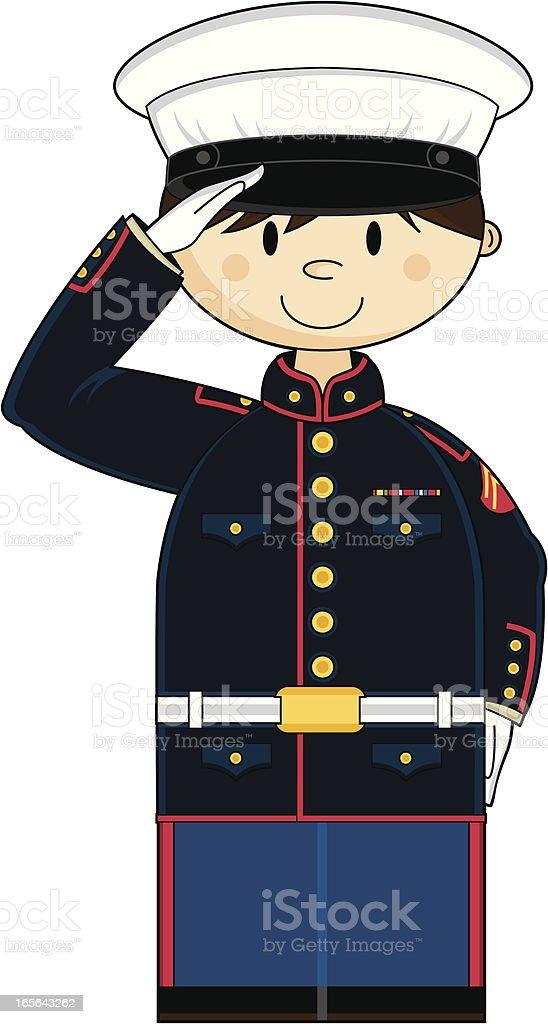 American US Marine Corp NCO Saluting royalty-free stock vector art