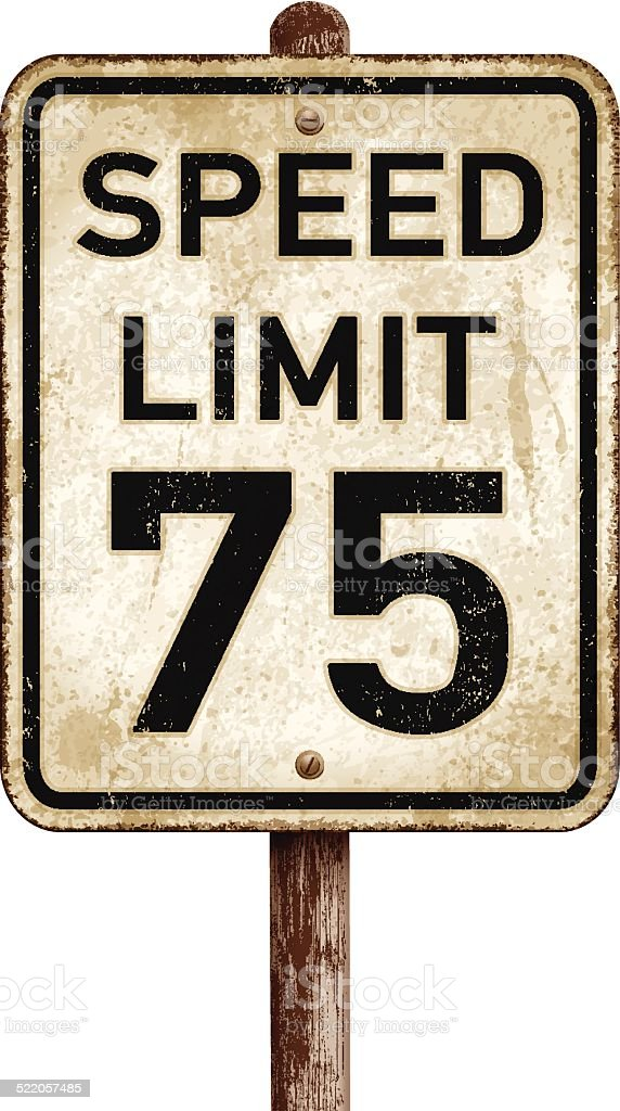 American vintage speed limit 75 mph road sign vector art illustration