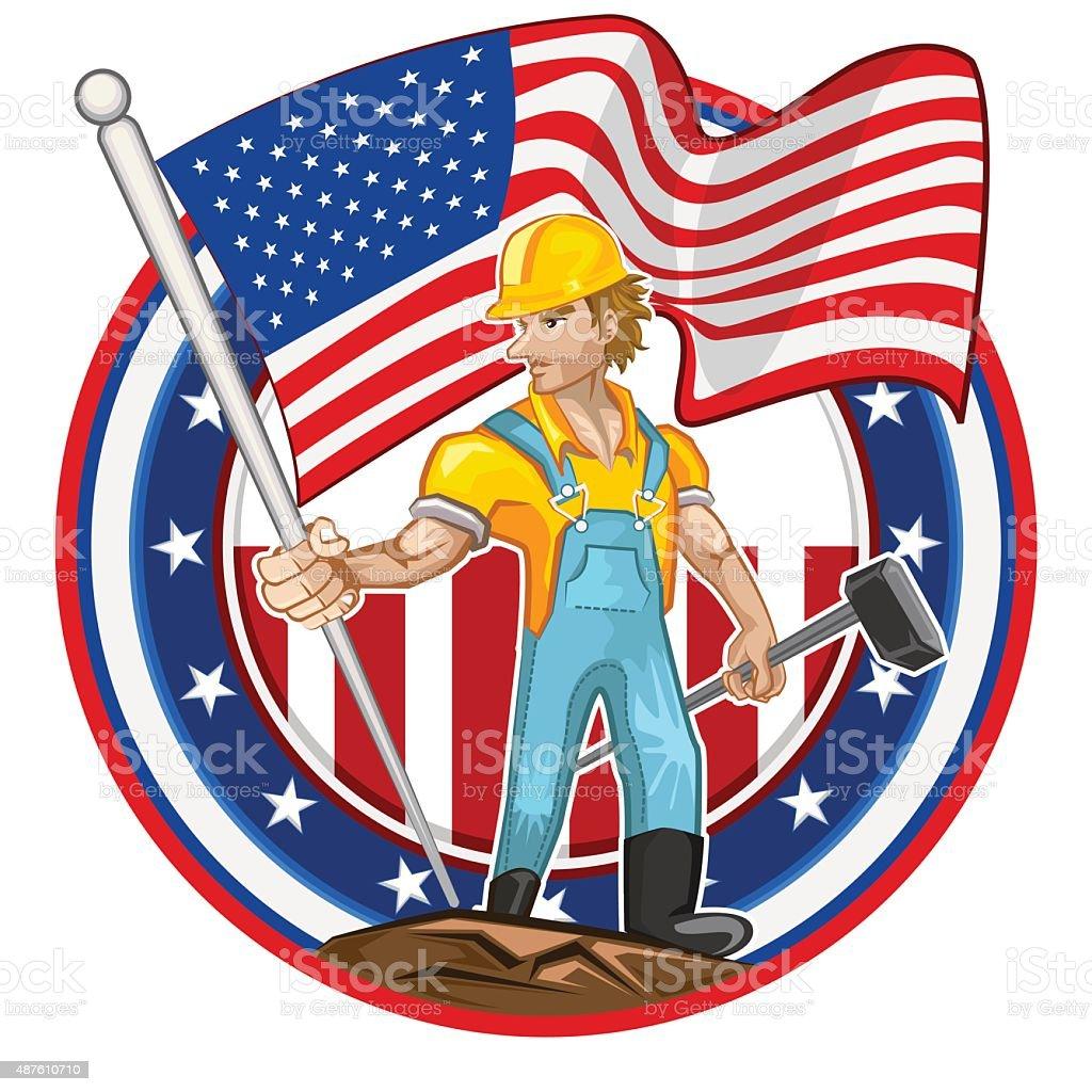 American Worker Labor Day vector art illustration