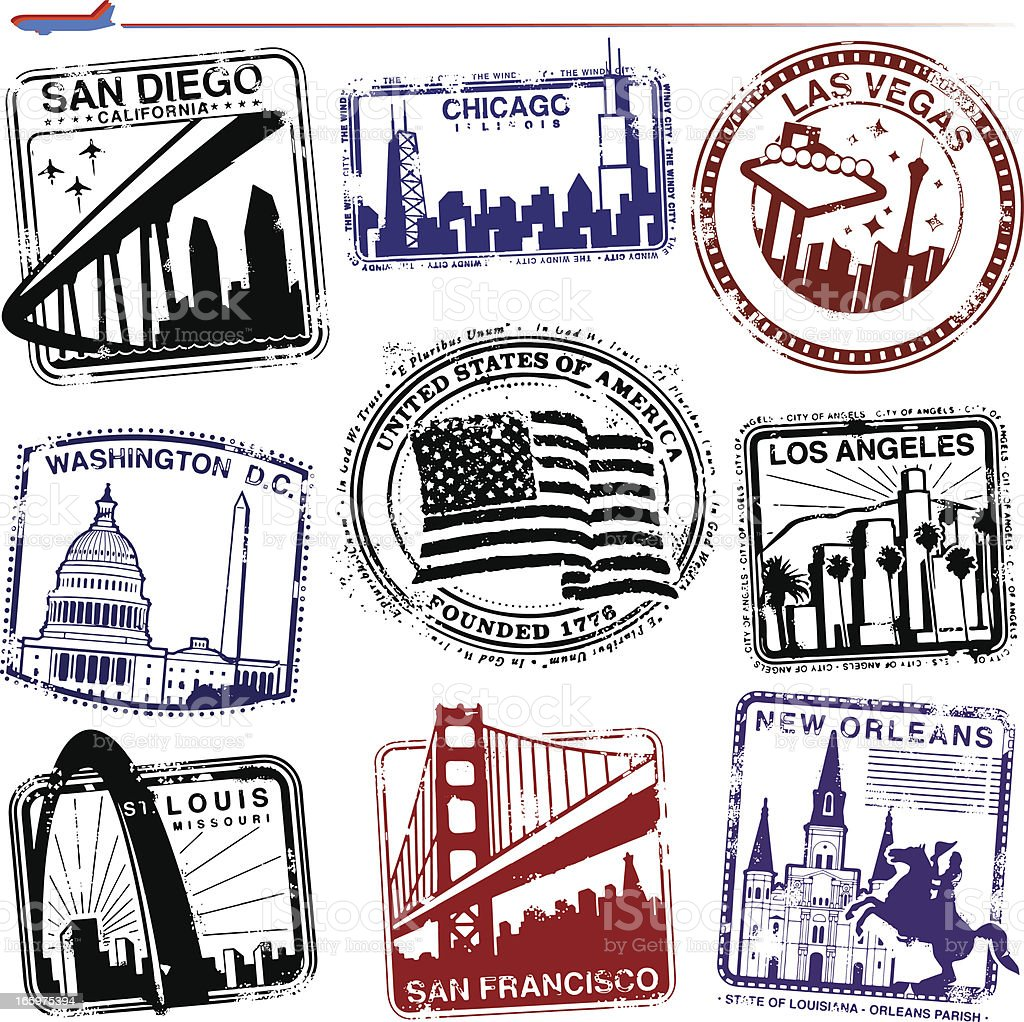Americana Landmarks vector art illustration
