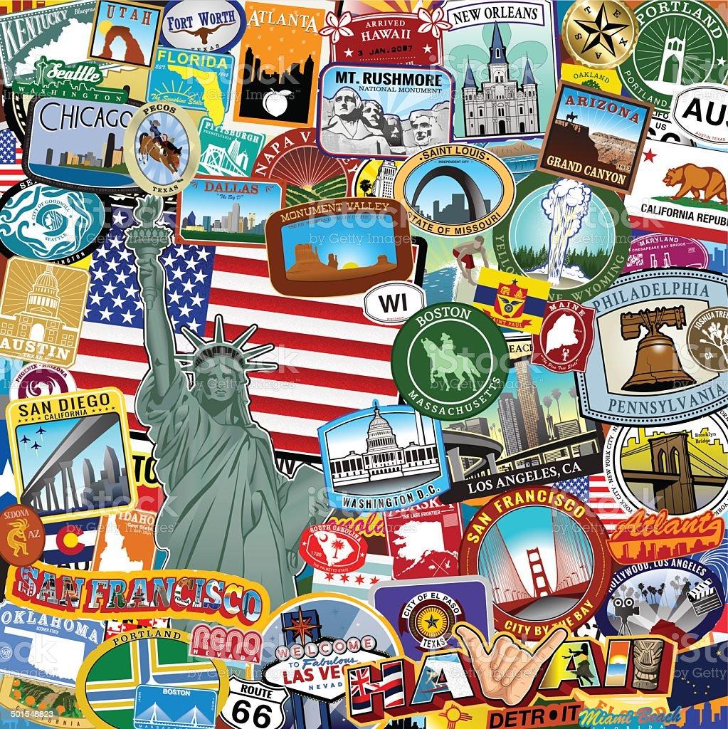Americana Sticker collage vector art illustration