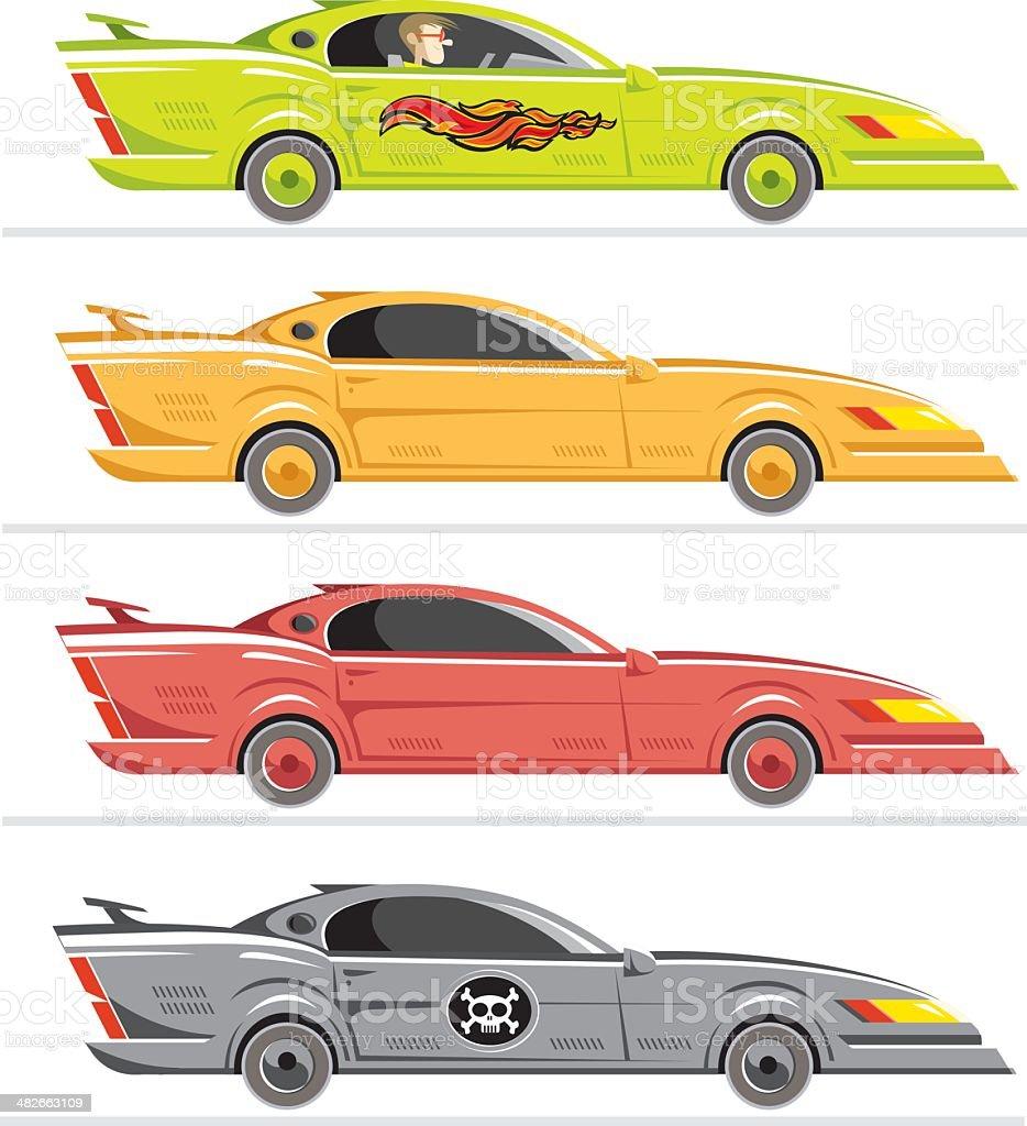 americar car set vector art illustration