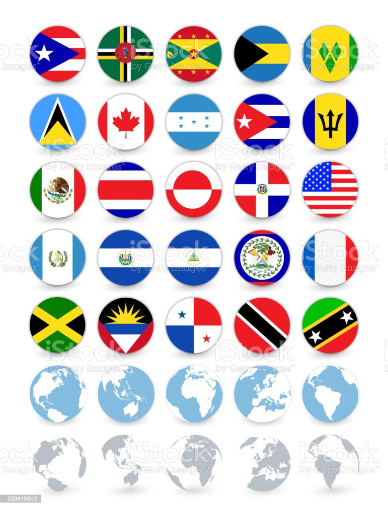 Americas country flags flat web buttons with globes vector art illustration