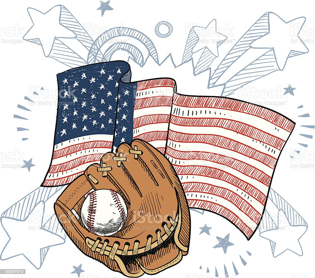 America's obsession with baseball vector art illustration