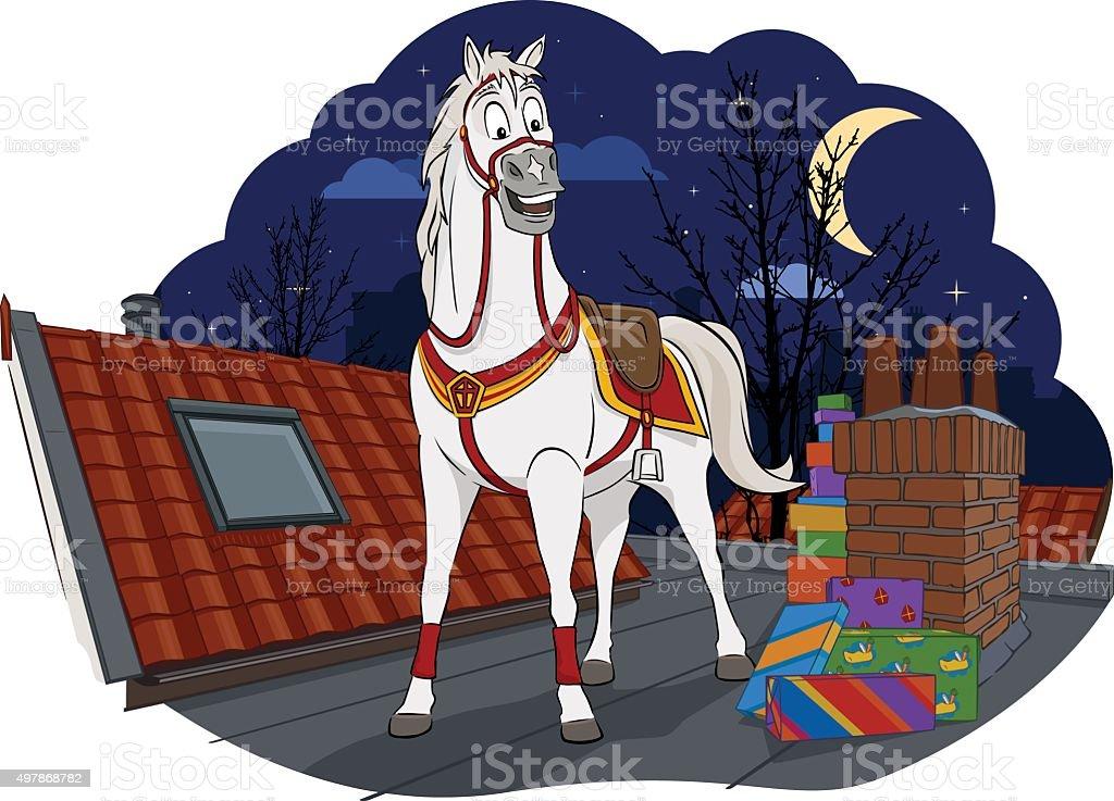Amerigo, the horse of Sinterklaas vector art illustration