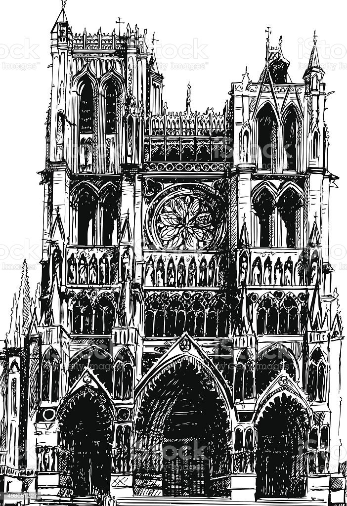 Amiens Gothic cathedral vector art illustration