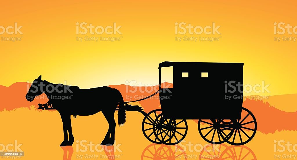 Amish carriage and horse at sunset vector art illustration
