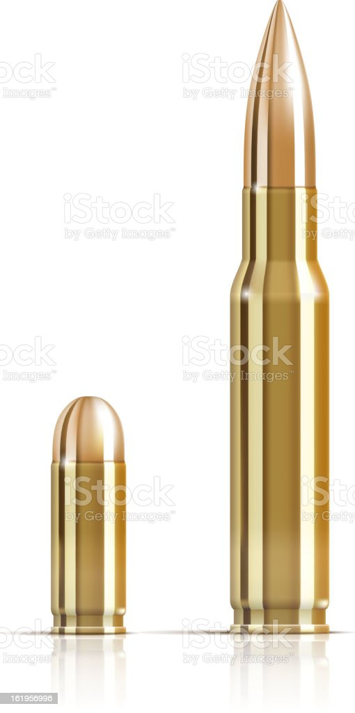 Ammunition bullets on white vector art illustration