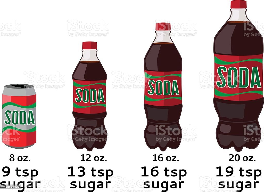 amount of sugar in soda vector art illustration