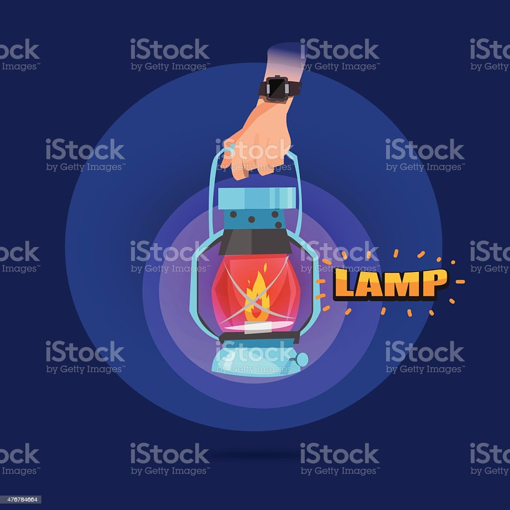 amp in hand with letters design - vector illustration vector art illustration