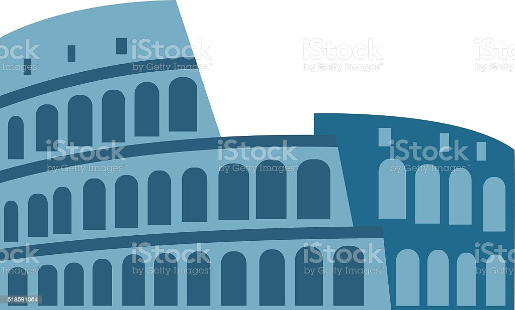 Amphitheater ruin an ancient architecture history city vector illustration vector art illustration