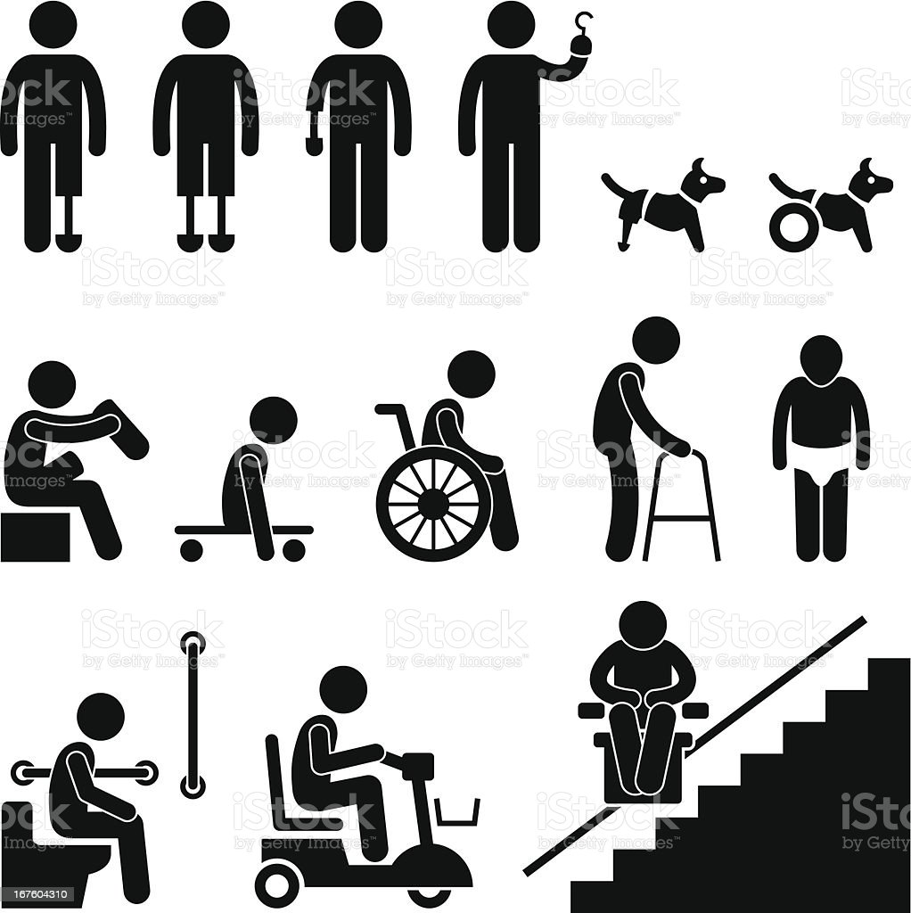 Amputee Handicap Disable People Man Pictogram vector art illustration