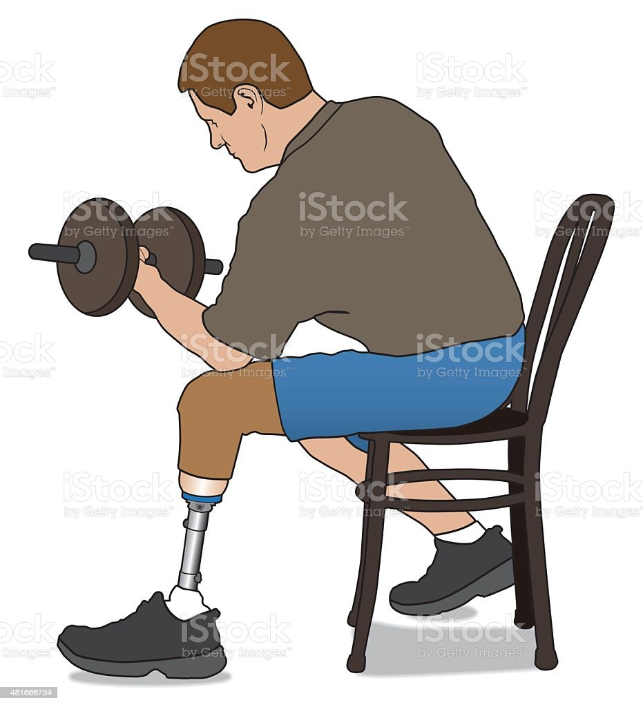 Amputee Lifting Weight vector art illustration