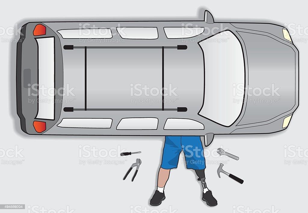 Amputee Mechanic vector art illustration