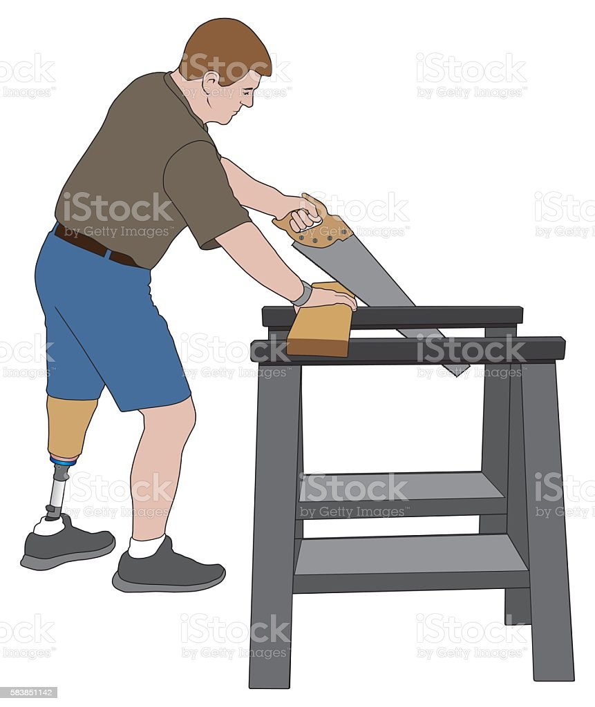Amputee Sawing Wood vector art illustration