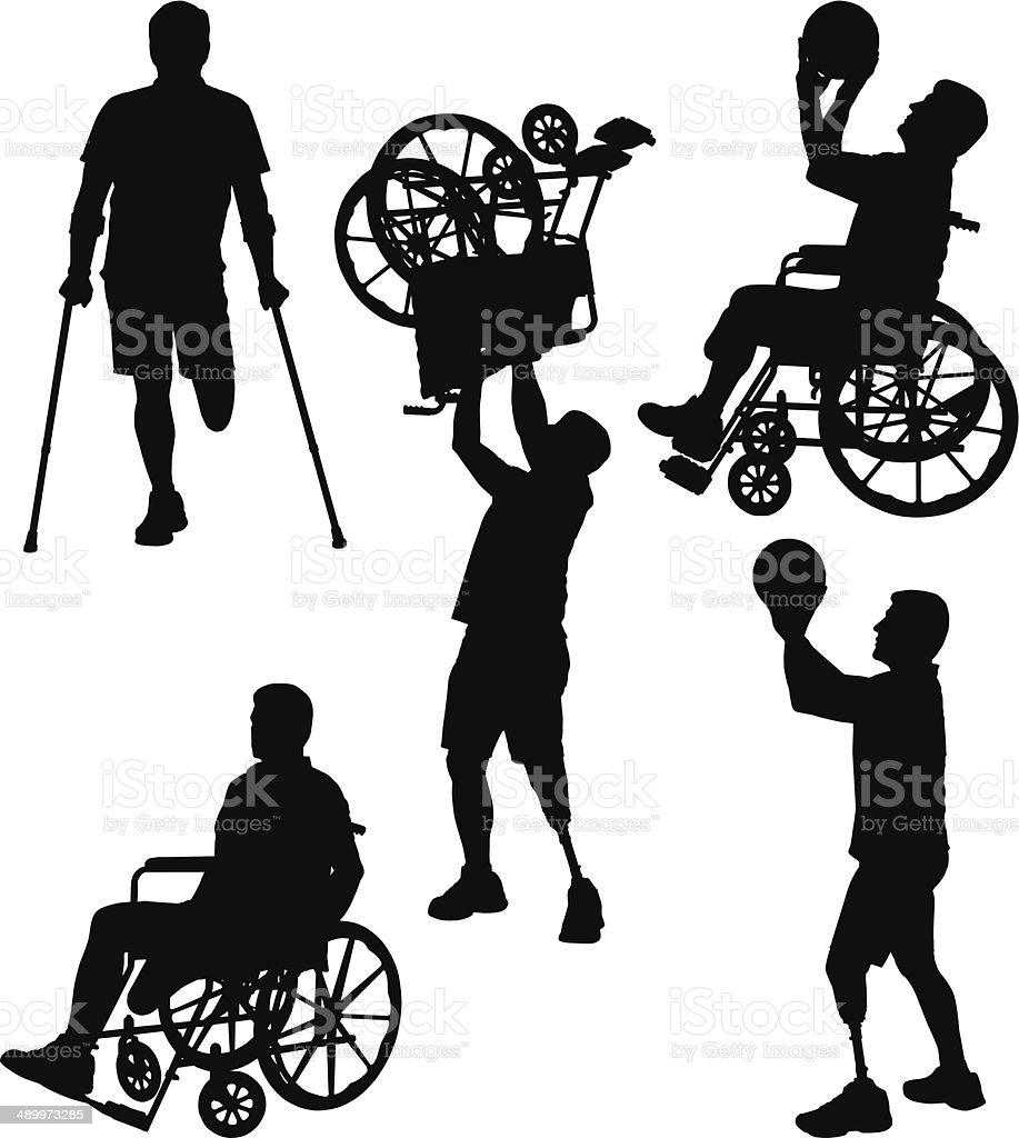 Amputee Silhouettes 12 vector art illustration