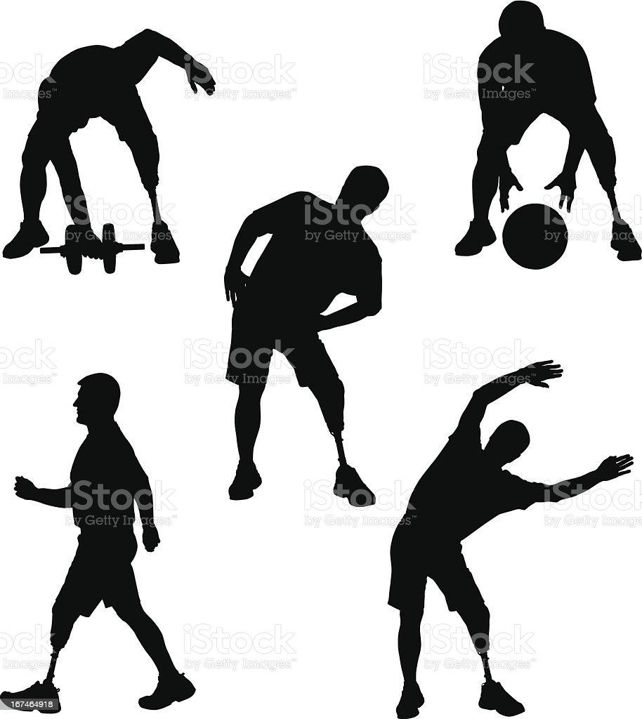 Amputee Silhouettes 5 vector art illustration