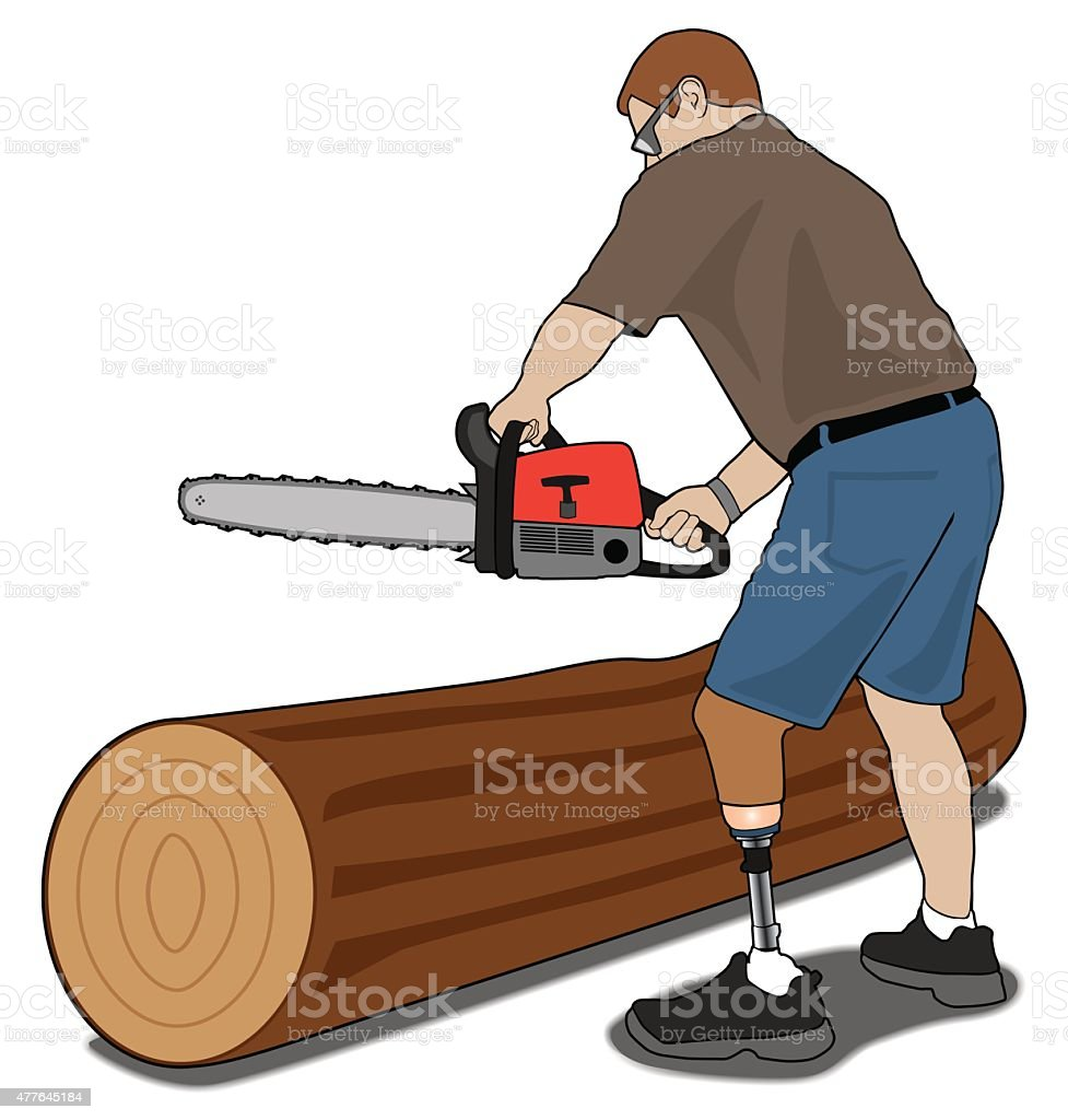 Amputee with chainsaw vector art illustration
